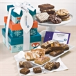 Custom Warm Wishes 3-Box Tower - Whimsical 3-box tower filled with brownies, cookies and bars; your logo on the hang tag