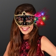 Light Up Feathers Fancy Black Mardi Gras Mask