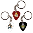 PVC Guitar Pick Key Ring with Chain - Custom imprinted full color photo imprinted guitar picks with key ring attached