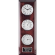 Simmons Clock/Thermometer/Hygrometer - Chrome - Rosewood and chrome accent clock/thermometer/hygrometer with an engraving plate.