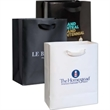 "DomesticBag, Euro Matte Totes with Ribbon Handle - Matte finish paper Euro tote bag, 8"" x 4"" x 10"" x 4""."