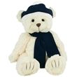 """12"""" Bear with Navy Blue Winter Hat and Scarf"""