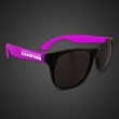 Neon Look Sunglasses With Purple Arms - Plastic sunglasses with black frames and neon purple arms.