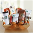 Starbucks Autumn Fireside Delights - Wooden crate filled with Starbucks coffees, mug, biscottie, and hot cocoa.