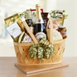 California Picnic - California Picnic basket filled with apple juice, crackers, cheese, and a assortment of food.