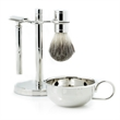 Shaving Set - Razor, badger brush and soap dish on chrome plated stand.