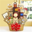 Shimmering Seasons - Star tin filled with chocolate candy, pretzels, popcorn, cheese, and bakery items.