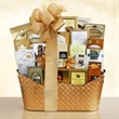 Golden Holiday Gourmet - Gift basket colored container overflows with cookies, fudge, cheese, crackers, and popcorn.