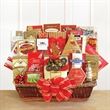 Holiday Extravaganza - Gourmet gift basket of goodies is filled to the brim with warm holiday wishes and warm thoughts