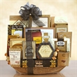 Black Tie VIP - A gold gourmet filled mesh basket with mix of cookies, crackers, pretzels, and tea.