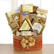 Golden Delights - Beautifully woven gift basket filled to the brim with a bevy of treats