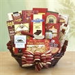 For the Whole Gang - Bountiful gift basket filled with a collection of candy chocolate. cheese, crackers and other assorted items.