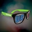 Custom Green Neon Billboard Sunglasses - Neon green billboard sunglasses with full color imprint on both lenses.