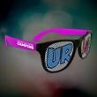 Custom Purple Neon Billboard Sunglasses - Neon purple billboard sunglasses with full color imprint on both lenses.