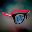 Custom Red Neon Billboard Sunglasses - Neon red billboard sunglasses with full color imprint on both lenses.