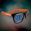 Custom Orange Neon Billboard Sunglasses - Neon orange billboard sunglasses with full color imprint on both lenses.