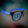Custom Blue Neon Billboard Sunglasses - Neon blue billboard sunglasses with full color imprint on both lenses.