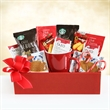 Starbucks Happy Holidays Box - Starbucks Happy Holidays Box filled with an assortment of food.