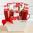 Starbucks Fireside Holiday Gift - Starbucks Fireside Holiday Gift box filled with mugs, hot cocoa, coffee, and assorted treats.