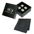 2 Natural Slate coasters & 4 Ice Cubes in gift box - Eco friendly slate coasters and stainless steel ice cubes set in beautiful black gift box