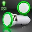 Green LED Car Charger USB Port