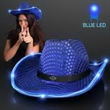 Blue Sequin Cowboy Hat - Blue Sequin Cowboy Hat  60 Day (12 Week) Imprint Production. Domestic 3-5 Day Imprint Pricing Also Available.