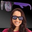 Mardi Gras Beads Purple Mardi Gras Sunglasses - Mardi Gras themed billboard sunglasses with purple and black coloring.