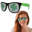 Shamrock Neon Green Billboard Sunglasses - St. Patrick's Day Shamrock billboard sunglasses made of plastic with neon green and black coloring.