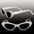 White Polka Dot Funky costume Children's sunglasses - Children's sunglasses with white frames and black polka dots.