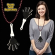 "Black & White Hand Clapper w/ Attached J-Hook - 7"" black and white hand clappers with j-hook attachment."