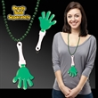 "Green & White Hand Clapper w/ Attached J-Hook - 7"" green and white hand clappers with j-hook attachment."
