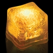 """Premium Lited Ice Yellow LED Light-Up Ice Cubes - Imprinted - 1 3/8"""" frosted plastic premium ice cube with built-in yellow LED lights that have 3 light settings"""