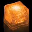 """Premium Lited Ice Orange LED Light-Up Ice Cubes - Imprinted - 1 3/8"""" frosted plastic premium ice cube with built-in orange LED lights that have 3 light settings"""