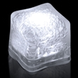 """Premium Lited Ice White LED Light-Up Ice Cubes - Imprinted - 1 3/8"""" frosted plastic premium ice cube with built-in white LED lights that have 3 light settings"""