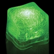 """Premium Lited Ice Green LED Light-Up Ice Cubes - Imprinted - 1 3/8"""" frosted plastic premium ice cube with built-in green LED lights that have 3 light settings."""