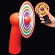 Red Handheld Fan w/ Multi-Color LED Lights - Red handheld fan with multi-colored LED lights.