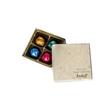 4 pc Truffles in Two Piece Folding Box - Four Premium Truffles, 99% Organic, Colorfully Foil-Wrapped in Recyclable Box.
