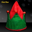 Light Up Elf Hat - Red and green light up elf hat imprintable for Christmas and Holiday events
