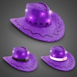 Purple Sequin LED Cowboy Hats - Purple cowboy hat with sequins, LED lights, three light functions and an imprintable band.