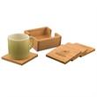 Bamboo 4pc Coaster Set with Holder - Customizable 4 piece bamboo coaster set with holder.