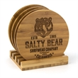 4 pc Round Bamboo Coaster Set - 4 pc. natural coaster set with stand made from Earth friendly bamboo.