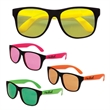 Classic Neon Sunglasses with Neon Lenses - Adult sized, plastic sunglasses with black frames and neon lenses.