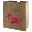 Flat Handle Paper Bag - Made from durable 70# Recycled Kraft Paper with serrated cut top, a well constructed bottom gusset.