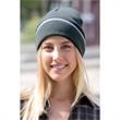 Edge Stripe Knit Beanie  - Knit beanie cap made of 60% cotton/40% acrylic 10 oz. jersey knit.