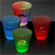 LED Neon Light Up Glow Look 2 oz Shot Glass - 2 oz neon look Light Up LED Glow shot glass, battery operated bar accessories.