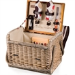 Kabrio - Moka - Basket with built-in wooden table top.