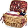 Highlander - Willow bombay basket with deluxe wine & picnic service for four, includes blanket