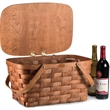 Prairie Basket - Traditional woven wood picnic basket, made in the USA from Appalachian white ash, with solid brass nails and brass coated hardware