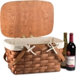 Prairie Basket with Canvas Liner - Traditional woven wood picnic basket, made in the USA from Appalachian white ash, with solid brass nails and brass coated hardware