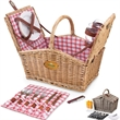 Piccadilly - Double-lid basket with picnic service for two, includes roll-up flatware pouch